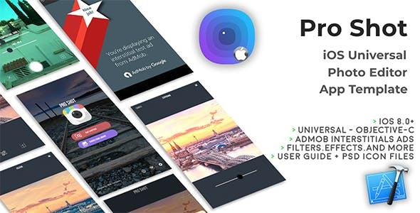 Pro Shot | iOS Universal Photo Editor App Template (Obj-C)