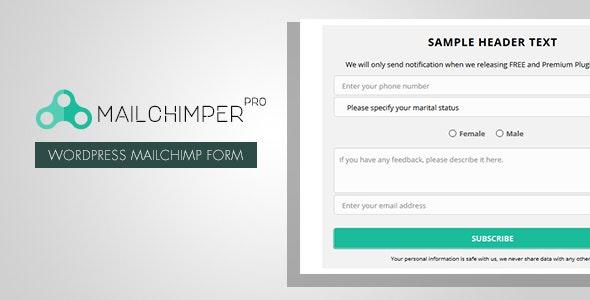 MailChimper PRO - WordPress MailChimp Signup Form Plugin - CodeCanyon Item for Sale