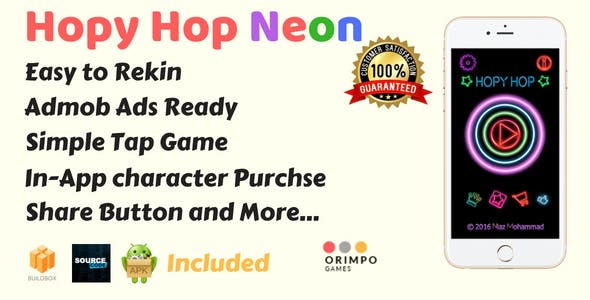 Hopy Hop Neon Color - Buildbox Game Template & Android Studio Project