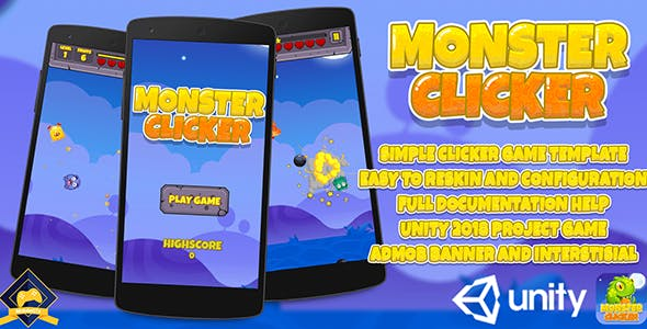 Monster Clicker : Unity 2018 Game Source Code + Admob Ads Ready