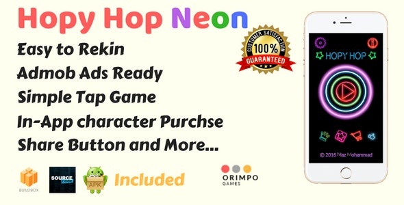 Hopy Hop Neon - Buildbox Game Template + XCode iOS Project - CodeCanyon Item for Sale