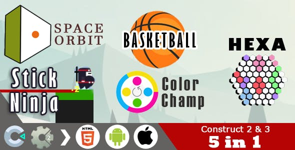 5 in 1 Construct 2 & 3 HTML5 Games Pack (C2 / C3 CAPX)