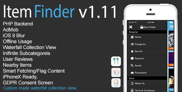 Item Finder MarketPlace Full iOS App v1.11