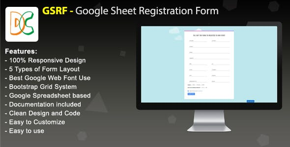 GSRF - Google Sheet Registration Form