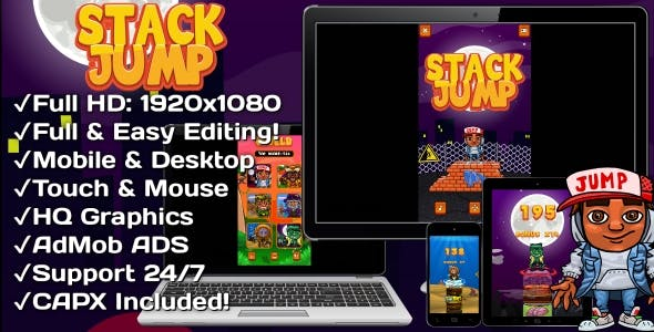 Stack Jump - HTML5 Game 6 Levels + Mobile Version! (Construct 3 | Construct 2 | Capx)