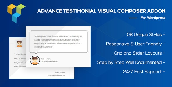 Advance Testimonial Addon for WordPress (formerly Visual Composer) - CodeCanyon Item for Sale