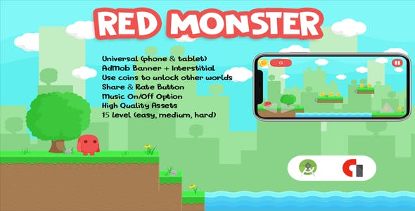 Red Monster - Addictive Game (Android Studio - AdMob - Asset PNG)