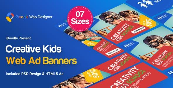 Kids Creative & School Banners Ad - Google Web Designer