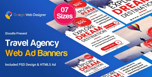 Travel Agency Banner HTML5 - Google Web Designer by iDoodle