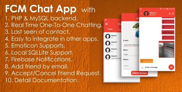 FCM One-to-One Chat App with PHP, MySQL | Native Android Studio - CodeCanyon Item for Sale