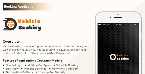 iPhone Native Vehicle Booking Mobile Application with Admin