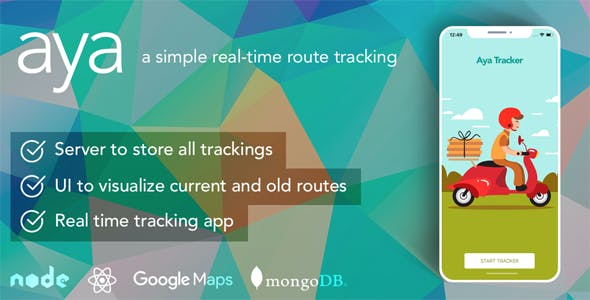 Aya React Native - A simple real-time route tracking
