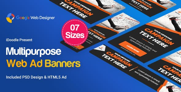 Multi Purpose Banners HTML5 D4 - Google Web Designer