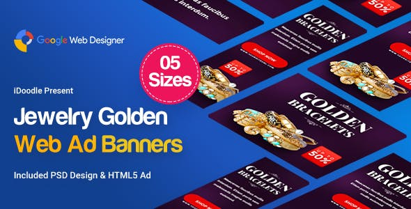 Jewelry Golden Banner HTML5 - GWD