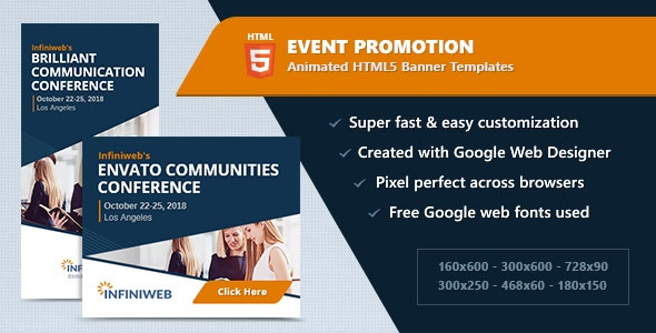 HTML5 Animated Banner Ads - Event Promotion (GWD) - CodeCanyon Item for Sale