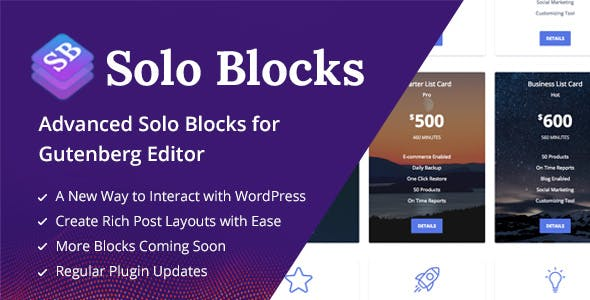 SoloBlocks - Blocks for WordPress Gutenberg Editor