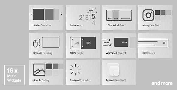 16x Adobe Muse Widgets by Rosea Themes