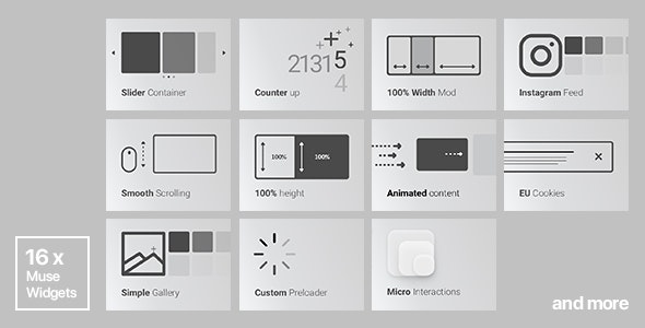 16x Adobe Muse Widgets by Rosea Themes | SALE!!! by