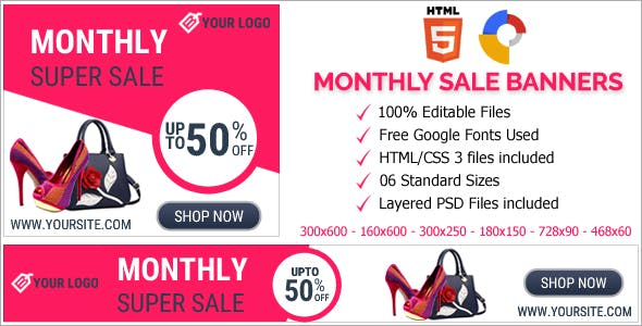 Monthly Super Sale Animated HTML5 Banner Ads (GWD)