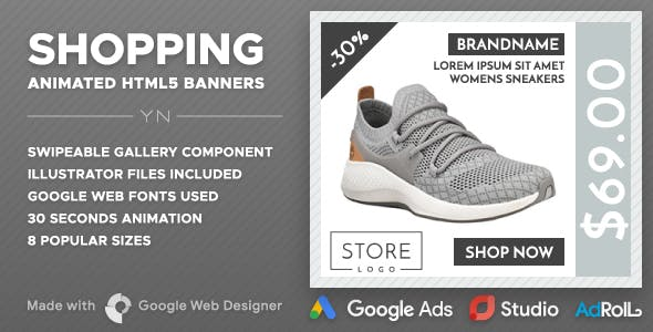 Shopping HTML5 Banners (GWD Swipeable Gallery)