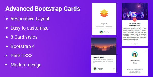 Advanced Bootstrap 4 Cards by TeamOF | CodeCanyon