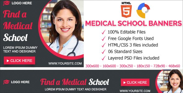 Medical School Animated HTML5 Banner Ads (GWD)