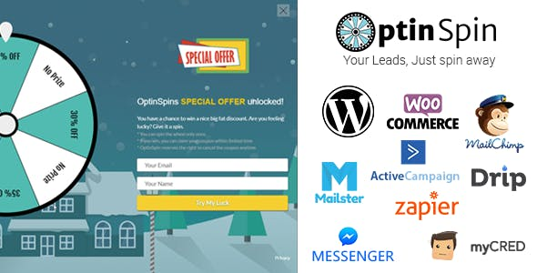 OptinSpin - Fortune Wheel Integrated With WordPress, WooCommerce and Easy Digital Downloads Coupons