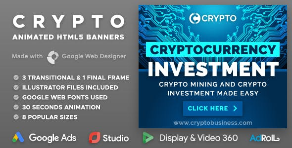 Crypto - Cryptocurrency Business HTML5 Banner Ad Templates (GWD)