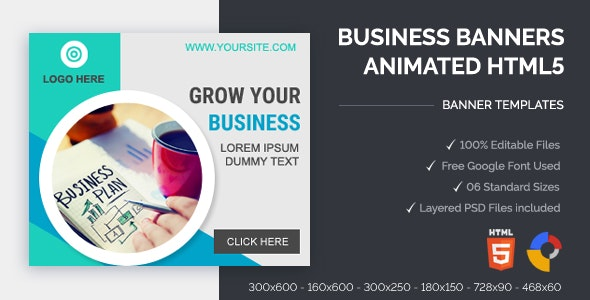 Business Banners Animated HTML5 Banner Ads (GWD) - CodeCanyon Item for Sale