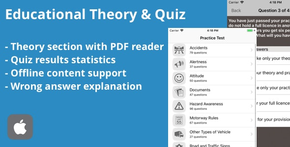 School Theory and Practice Tests iOS App - CodeCanyon Item for Sale