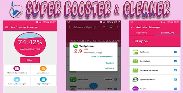 Booster + Cleaner + App Manager with Admob (Android project + Assets )