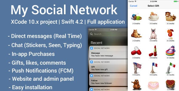 My Social Network (iOS App and Website) - Swift 4