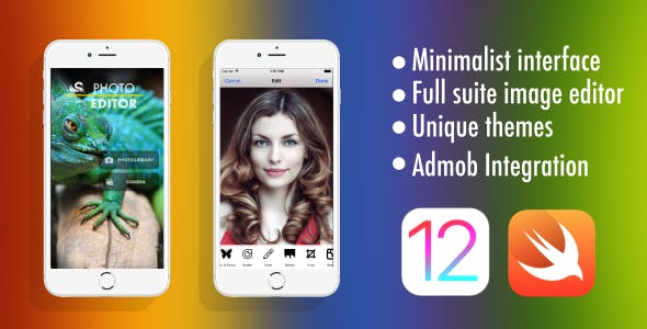 Photo Editor - Swift 5 | iOS 12 - Admob - Universal