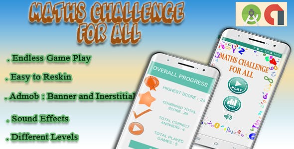 Math Challenge : Funny Game - Android Game with Admob (Android project + Assets )