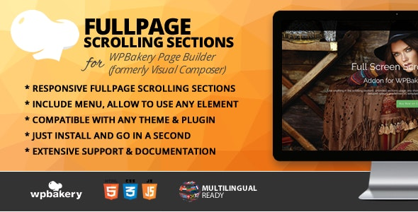 Fullpage Scrolling Sections Addon for WPBakery Page Builder (formerly Visual Composer) - CodeCanyon Item for Sale