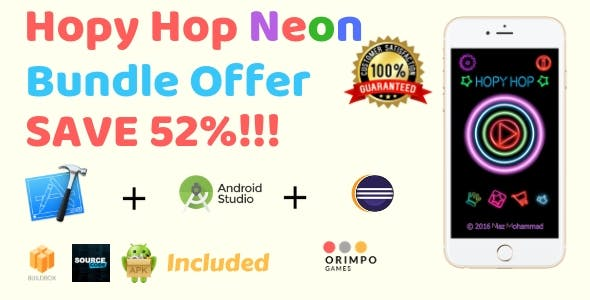 Hopy Hop Neon Bundle - Buildbox Game Template + eclipse + android studio + iOS xcode