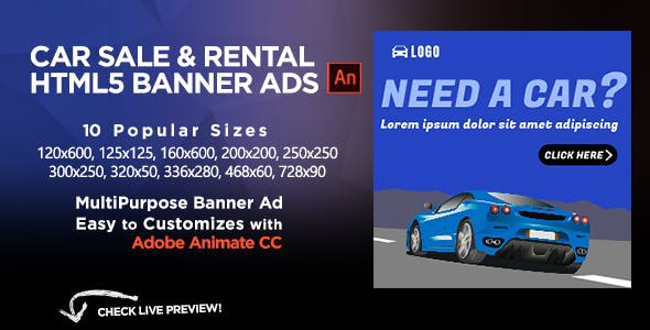 Car Sales & Rental HTML5 Banners Ads | Animate CC