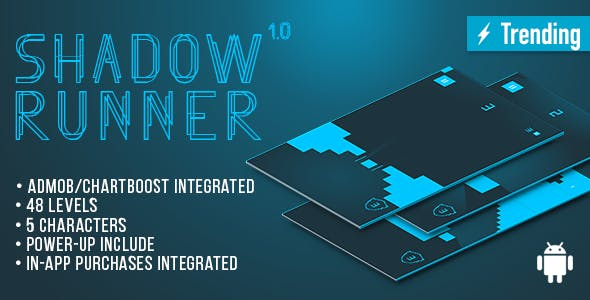 Shadow Runner (Android) Fun Arcade Game Template + Easy To Reskine + AdMob