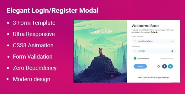 Elegant Login Register Modal