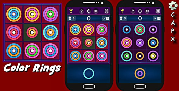 Color Rings Puzzle | HTML5 Game Template (CAPX + C3P)