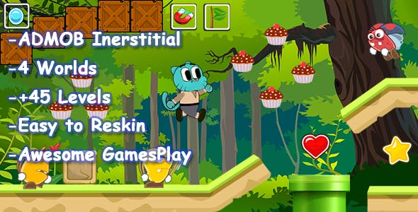 Gumball Adventure Android Studio Game Template + Admob