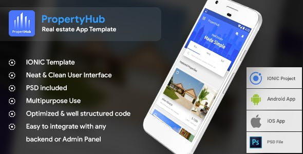Real Estate Android App + iOS App Template | PropertyHub (HTML+CSS files IONIC 3)