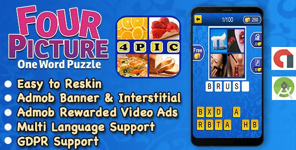 4 Pic 1 Word + Best Kids Trivia Quiz + Ready For Publish + Android Studio + Multi Language