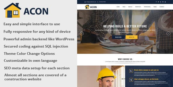 Acon - Architecture and Construction Website CMS