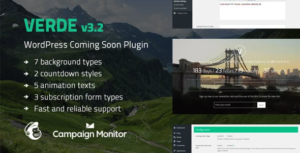 Verde - Responsive WordPress Coming Soon Plugin        Nulled