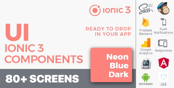 Ionic 3 / Angular 6 UI Theme /  Template App - Multipurpose Starter App - Flat Red Light - CodeCanyon Item for Sale