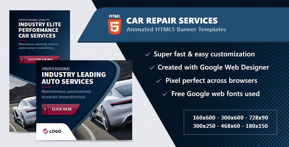 HTML5 Animated Banner Ads - Car / Auto Service (GWD)