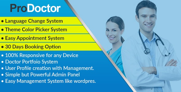 ProDoctor - Doctor Appointment System with Portfolio Management - CodeCanyon Item for Sale
