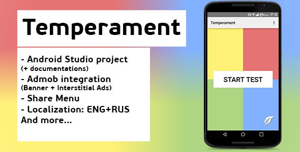 Temperament test + Admob ads