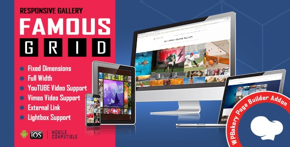 Famous - Responsive Image & Video Grid Gallery for WPBakery Page Builder (formerly Visual Composer) - CodeCanyon Item for Sale